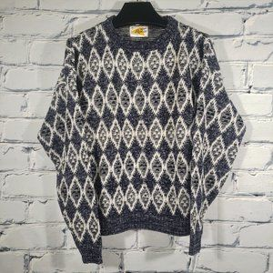 VTG Geometric Knit Sweater, Diamond Zigzag Bird. Crewneck Pullover